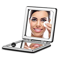PREMIUM ARTIFICIAL LEATHER: The PU cover design of a pocket mirror looks more fashionable and exquisite, and you also can obtain a better hand feel. 1X & 3X MAGNIFICATION: A two-sided mirror suitable for cosmetic use. The primary mirror perfectly ref...