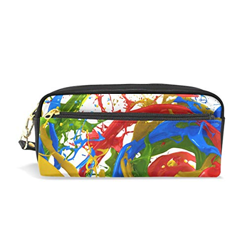 CPYang Federmäppchen, abstrakt, buntes Spritzlack, Leder, Bleistifttasche mit Reißverschluss, Stifthalter für Studenten, Schreibwaren, Kosmetik, Make-up-Tasche