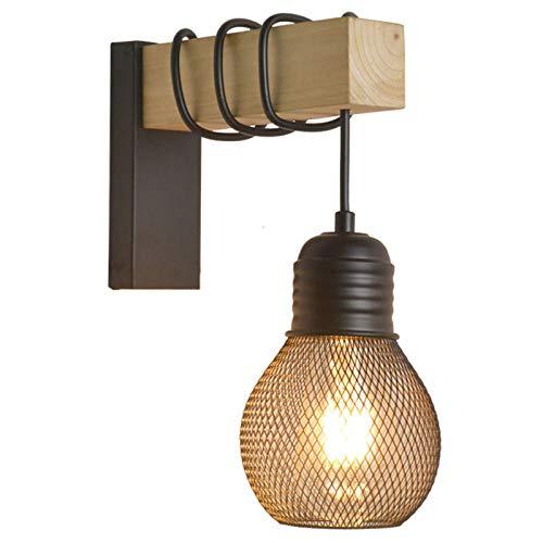 ER-JI Personlig trävägglampa, retro industriell stil bar gång kreativ sängloft nät café hemstad nostalgisk vägglampa