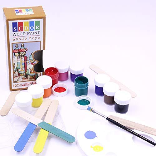 SÜDOR Holzspielzeug Farben | Malfarben fürs Spielzeug aus Holz | Acryl-Farben auf Wasserbasis für Kinder und Erwachsene | Malen auf Holz