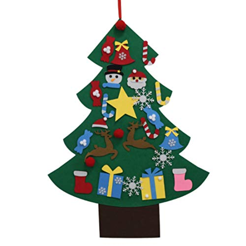 Fltaheroo DIY Felt Christmas Tree Artificial Tree Wall Hanging Ornaments Christmas Decoration for New Year Gifts Kids