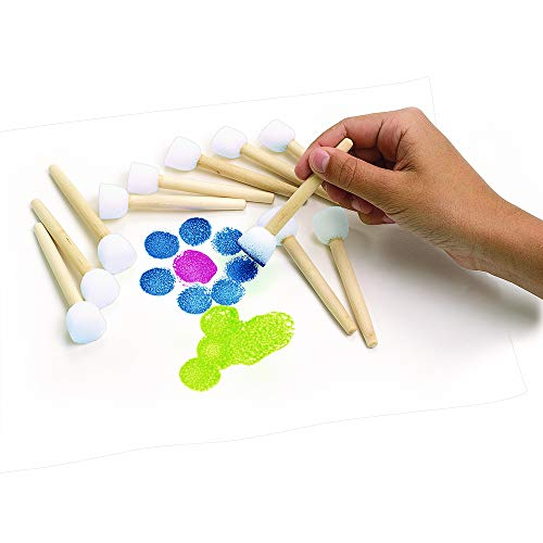 Colorations Round Sponge-Tipped Foam Brushes for Dot Art, Stippling, and Stenciling - Set of 12