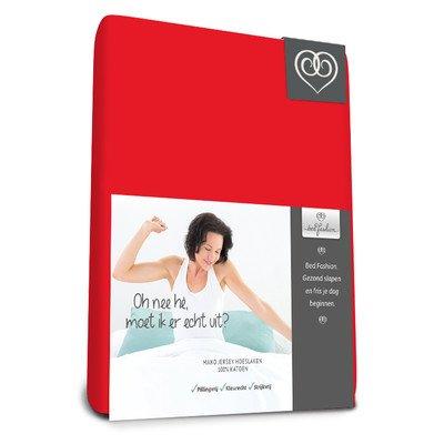 Bed-Fashion Mako Jersey Elastaan Split Topper Hoeslaken 160 X 220 cm Rood, Satijn, Dubbel