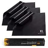Collory Premium Dauerbackfolie XL (3er Set), Backpapier wiederverwendbar, Backfolie schwarz, Backunterlage Teflon antihaftend, Backmatte, Dörrfolie, Lebensmittelecht BPA-Frei, EXTRA DICK, 50x40cm groß