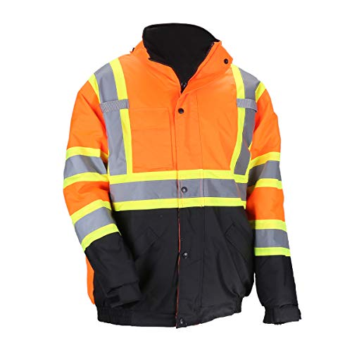 Men's ANSI Class 3 High Visibility Bomber Safety Jacket Detachable Hood Workwear Fleece Quilted Black Bottom Waterproof Thermal(L,Orange)