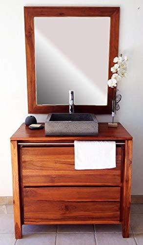 Atypik Home Salle de Bain en Teck Sirocco Natural Vernis et Son Miroir Teck  Solo (sans Vasque)