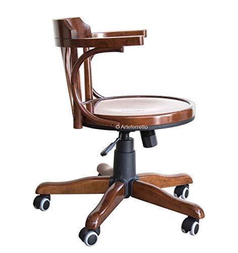 Drehstuhl mit Rollen Holzsitz, Stuhl drehbar aus Holz für Büro und Arbeitszimmer, drehbar Bürostuhl im klassischen Stil Made in Italy, Sessel drehbar mit Sitz aus Holz höhenverstellbar NEU