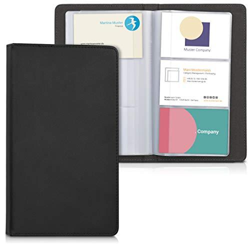 kwmobile Tarjetero de cuero sintético - Estuche de cuero artificial compatible con tarjetas de visita - Carpeta en negro