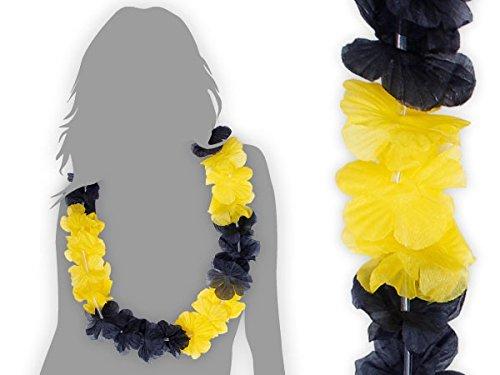 Lot de 120 collier Hawaïen JAUNE NOIR HK-27 textile hawaien Hawaï hawaii Hula fleur pétale ambiance tropique déguisement fête beach party été plage printemps accessoire fête mariage anniversaire festival évenement vacance femme homme jeune enfant