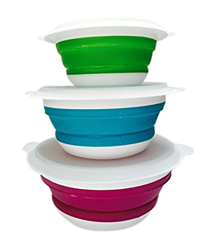 Moule en Silicone Pliable déjeuner Bols, Rose/Bleu/Vert, 19 x 19 x 19 x 19 x 13 cm
