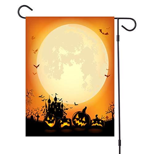 Babitotto Bandera de Halloween de calabaza de 32 x 47 cm de doble cara para jardín de invierno de la serie Melón Decoración de la seriede las vacaciones al aire libre Banner Césped