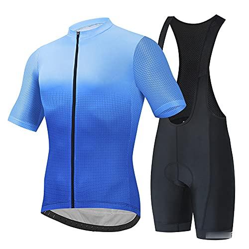 JQKA Traje Ciclismo Hombre Manga Corta Conjunto Ropa Bicicleta Verano Maillot MTB Equipos Verano con 5D Acolchado De Gel(Size:Extragrande,Color:Azul)