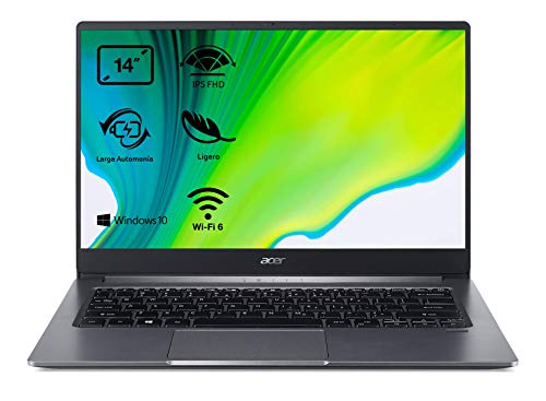 Acer Swift 3 SF314-57 - Portátil ultrafino 14' FullHD (Intel Core i5-1035G1, 8GB RAM, 256GB SSD, Intel UHD Graphics, Windows 10 Home), Teclado QWERTY Español, Color Gris