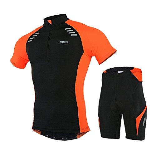 GWELL Herren Radtrikot Set Fahrradbekleidung Schnell Trocken Fahrrad Trikot Kurzarm + Radhose mit 3D Sitzpolster orange L