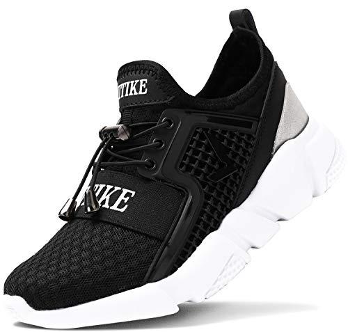 ashion Kinder Turnschuhe Jungen Sport Schuhe Mädchen Kinderschuhe Sneaker Outdoor Laufschuhe für Unisex-Kinder(F-Schwarz,34 EU)