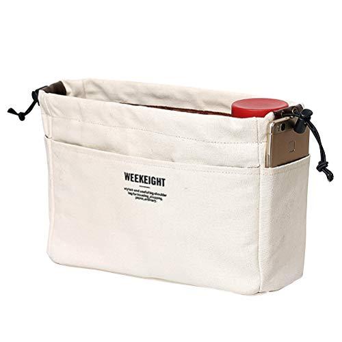 Trousse de toilette portable multifonction en toile avec cordon de serrage étanche pour ranger les produits de toilette et le maquillage (beige, grande taille)