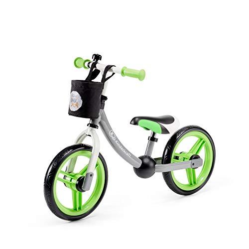 Kinderkraft Laufrad 2WAY NEXT, Lernlaufrad, Kinderlaufrad, Lauflernrad für Kinder, Kinderrad mit Zubehör, Klingel, Tasche für Kleinigkeiten, 12 Zoll Räder, Metall, ab 2 Jahre, Modernes Design, Grün