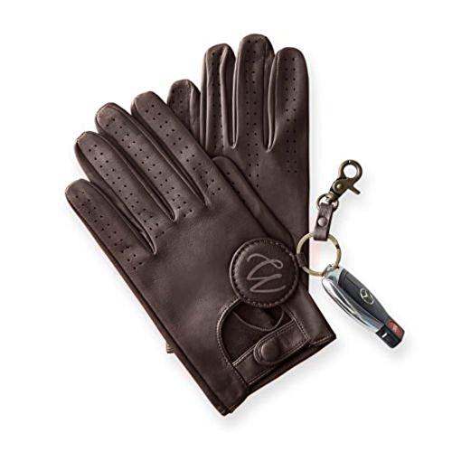 Guantes clásicos de conducir para hombre, piel de cordero auténtica y suave, color marrón oscuro y claro