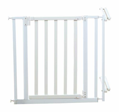 Roba 1548W - Treppenschutzgitter, Holz/Metall, weiß, Verstellbreite 81-90 cm, Gesamthöhe 76.5 cm,...