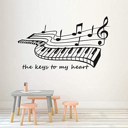 Las Llaves De Mi Corazón Pegatinas De Pared De Piano Para Sala De Estar Decoración Del Hogar Calcomanías De Vinilo Para Pared Extraíble Arte Popular Papel Tapiz De Música 74X43Cm