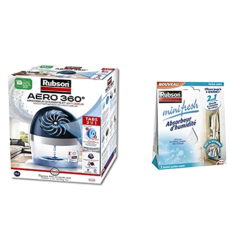 Rubson AERO 360° Absorbeur d'humidité pour pièces de 20 m², inclus 1 recharge neutre de 450 g & Minifresh Absorbeur d'Humidité en sachet, Absorbeur d'odeur 2 sachets parfum neutre de 50 g