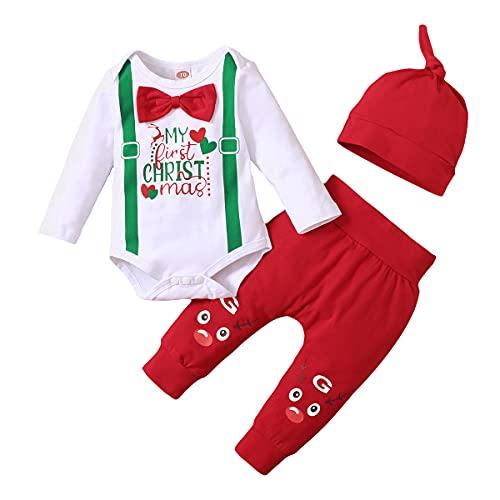 IBAKOM Conjunto de ropa de fiesta de manga larga con diseño de My 1st First Christmas para niños y niñas + pantalones largos florales/rayas + sombrero/diadema 3 piezas, rosso, 6 mes