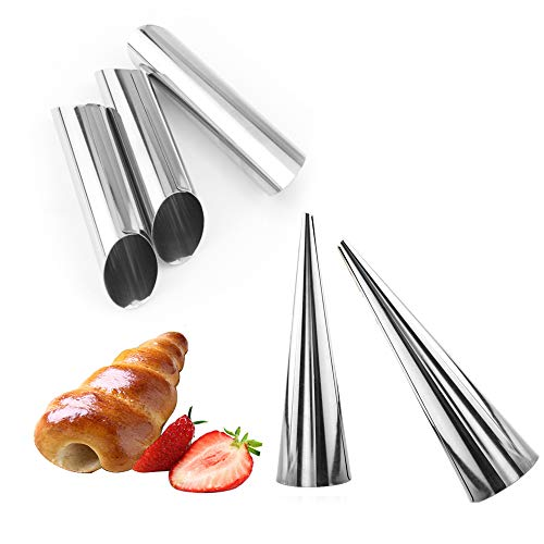 15 Pcs Stainless Steel Cannoli Tubes Set,Non-stick Cone Cream Horn Molds and Diagonal Shaped Cannoli Forms for DIY Baking Croissant Waffle Cone Pastry Roll Molds