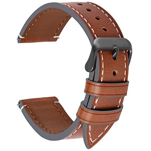 Fullmosa Uhrenarmband 22mm Leder in 6 Farben,Wax Series Echtes Ersatz Armband für 22mm,Dunkelbraun + Rauchgraue Schnalle 22mm