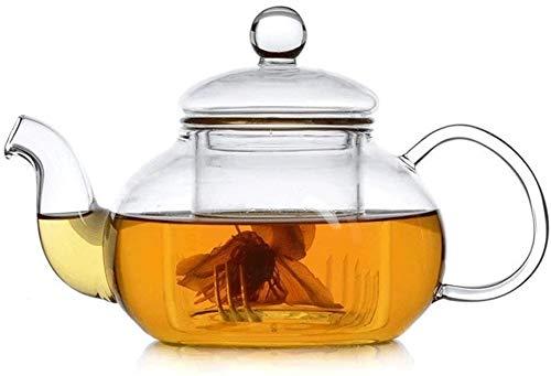 Bouilloire induction Théière en verre 600ml une tasse de petit café résistant à la chaleur pour la feuille de feuilles en vrac pour le bureau de la maison en plein air WHLONG