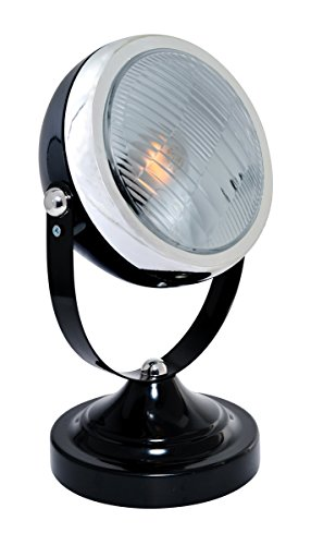 "Lite Source LS-22737BLK Headlite Table Lamp, 4.25"" x 6.5"" x 11.25"", Black/Silver"