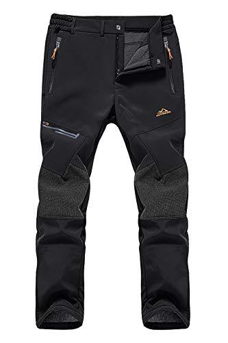 EKLENTSON Mens Fleece Water Resistant Trousers Winter Padded Mountain Bike Pants Zip Pockets Black