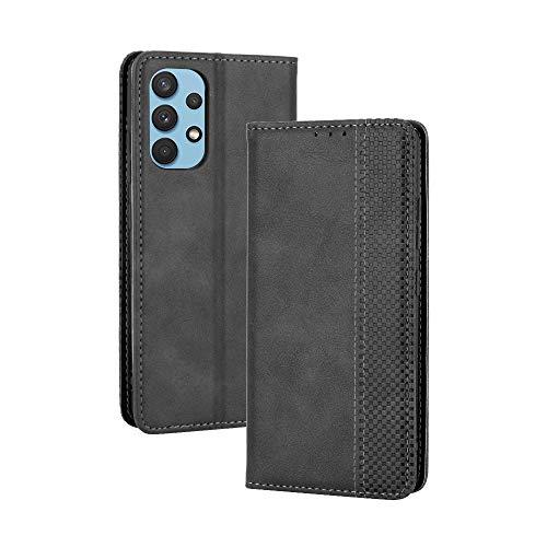 Dedux Portafoglio Custodia Cover Compatibile con Samsung Galaxy A32 4G, Cover per Biglietti da Visita in Pelle Retro con Chiusura Magnetica Premium Pu Flip, Nero