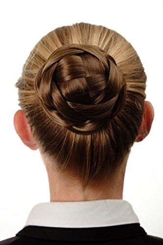 WIG ME UP - Haarknoten Dutt Haarteil aufwendig geflochten Brautschmuck Tracht Steck-Kamm Haarnadel Braun Goldbraun Q399D-12