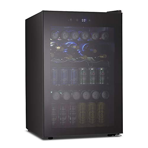 Kismile 4.5 Cu.ft Beverage Refrigerator and Cooler,126 Can Mini Fridge Glass Door with Digital Temperature Display for Soda,Beer or Wine,small Drink Dispenser Cooler for Home,Office or Bar (Black)