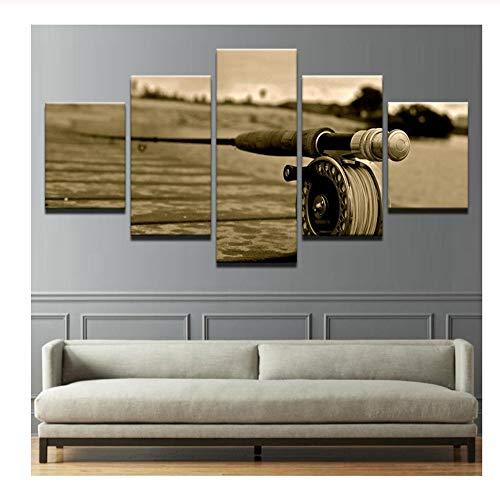 BDFS Rahmen Wandkunst Leinwand Gemälde Fliegenrute Wohnzimmer Dekor Poster Landschaft 5 Stück Fliegenfischen Poster Modulare Retro-Bilder