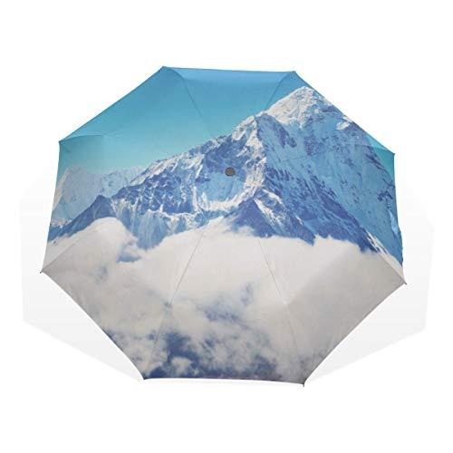 Reiseschirm Winter Berge Schnee Berge Anti Uv Kompakt 3 Falten Kunst Leichte Klappschirme (Außendruck) Winddicht Regen Sonnenschutz Regenschirme Für Frauen Mädchen Kinder
