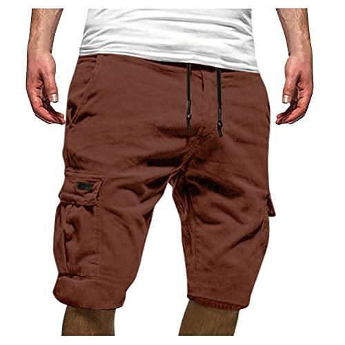 Winging Pantalones Cortos deportivos de Color Sólido Casuales de Verano Para Hombre de Talla Grande Con Múltiples Bolsillos Para Hombre Pantalón de Cinco Puntos Pantalones de Hombre