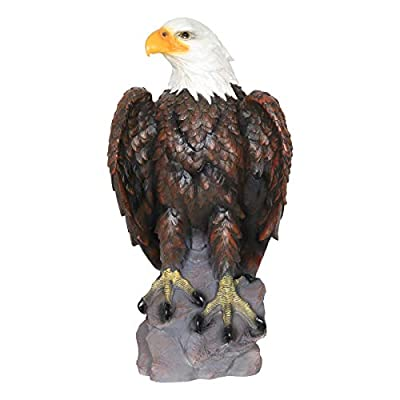 "Exhart Bald Eagle Garden Statue - Hand-Painted Eagle Decor- Bald Eagle Resin Statue, Majestic America Décor Indoor/Outdoor USA Decor for Office, Patio, Yard and Garden, 12 x 24"" Eagle Statue"
