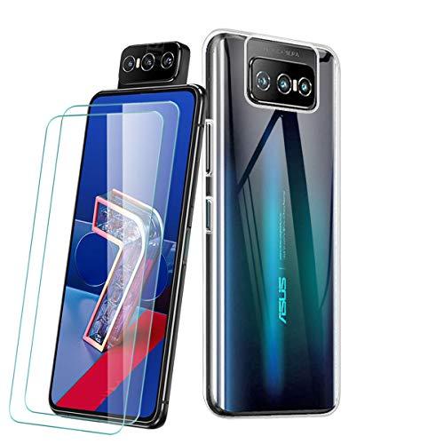 PZEMIN Carcasa para ASUS Zenfone 7 Pro ZS671KS Funda + 2X Cristal Templado Membrana Película Protectora - Silicona Transparente Suave TPU Bumper Case Estuche Caso (6.67', Clear)