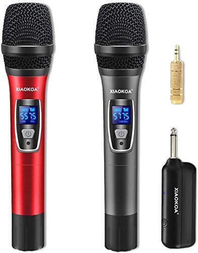 XIAOKOA Wireless Microphone,UHF Microfono Senza fili, 50m Trasmissione Senza fili, Microfono Portatile con Display Digitale,per Karaoke/Home KTV/Prestazioni All'aperto/Evento Festa