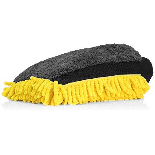Nuke Guys - Guante de microfibra 3 en 1 para el lavado suave del coche; chenilla - malla de insectos - microfibra (gris/amarillo).