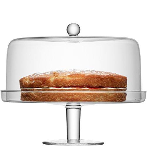 LSA International - klara - Soporte para tartas con tapa, transparente Ø33cm/Ø30cm