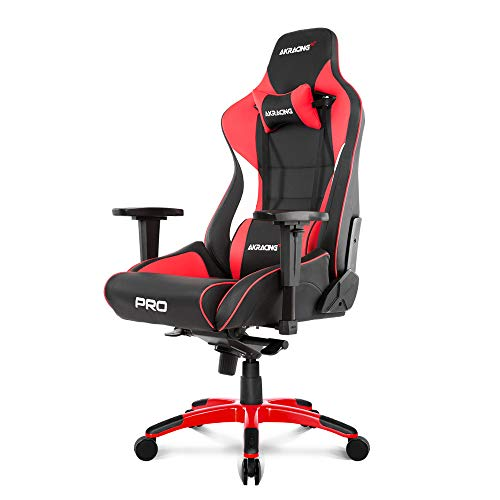 AKRacing Masters Series Pro Luxury XL Gaming Chair with High Backrest, Recliner, Swivel, Tilt, 4D Armrests, Rocker & Seat Height Adjustment Mechanisms, 5/10 Warranty chair gaming red