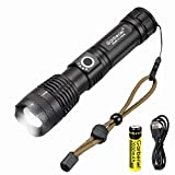 Garberiel XHP50 LED Flashlight, 5 Modes Zoomable Flashlight USB Rechargeable Zoomable Defense Led