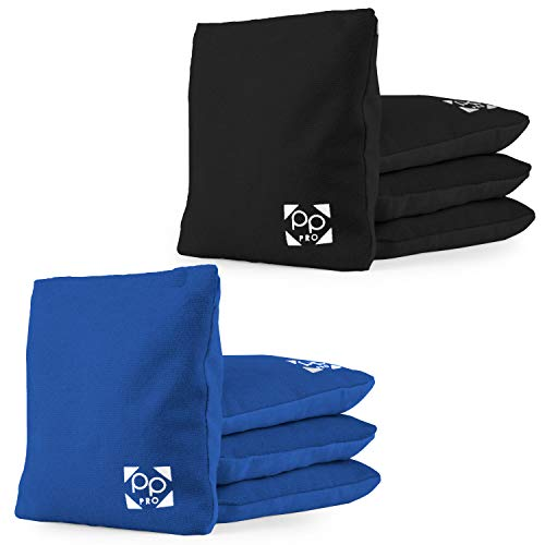 Professional Cornhole Bags - Set of 8 Regulation All Weather Two Sided Improved Bean Bags for Pro Corn Hole Game - 4 Blue & 4 Black