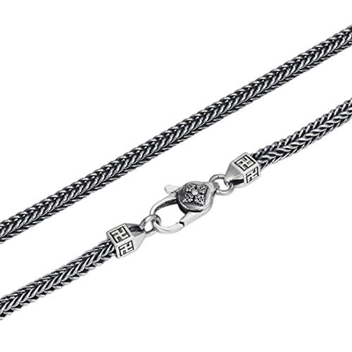 Collar de Cola de Zorro Cuadrado de Plata tailandesa de 4 mm para Hombres y Mujeres S925, Collares de Cadena Larga de Tejido clásico Retro de Plata esterlina, joyería