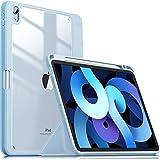 INFILAND Custodia per iPad Air 4 Generazione/iPad 10.9 2020, Ultra Sottile Retro Trasparente Cover con Portapenne Compatibile con iPad Air 4 2020, Automatica Svegliati/Sonno, Baby Blue