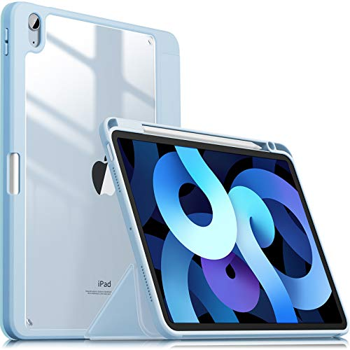 INFILAND Case for iPad Air 4th Generation,iPad 10.9 Inch 2020 Stand Shell, [TPU Soft Edge Shockproof] [Auto Sleep/Wake Cover] [Lightweight Transparent Back] [Pencil Holder Protector],Baby Blue
