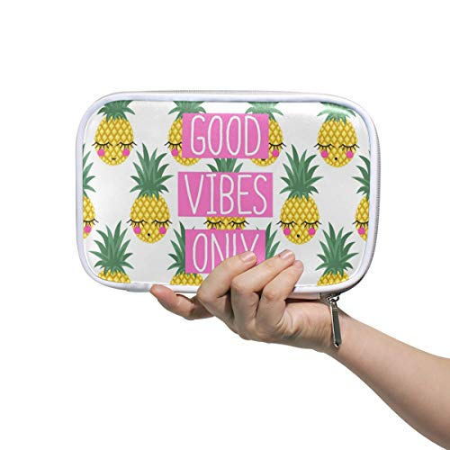 MAHU Pencil Case Tropical Fruit Pineapple Quote Emoji Pencil Bag Zipper Pouch Holder Makeup Brush Cosmetic Bag Passport Large Capacity Organizer Box