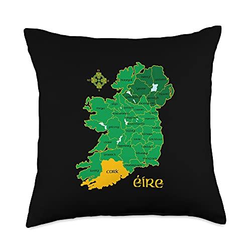 Irish Heritage Celtic Gifts Cork Ireland County Map Eire Irish Travel Throw Pillow, 18x18, Multicolor